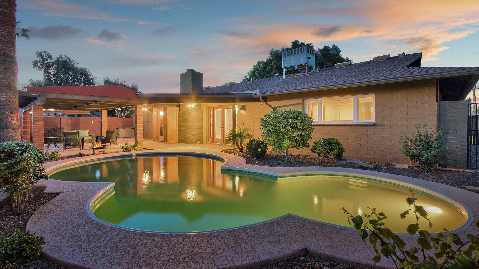 Sold – Tempe – Gorgeous Pool Home – Hardscape fireplace in private front Courtyard